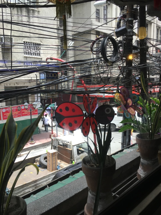 View of Ongpin Street from Mezzanine Cafe.